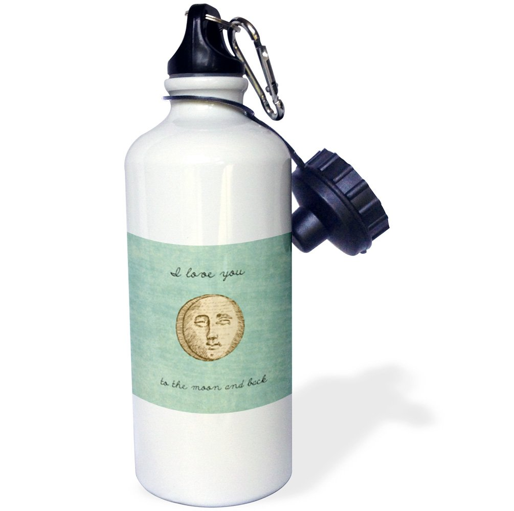 Sea Shell and Surfer Sports Water Bottle 3dRose wb/_152537/_1 Beach Scene with A Palm Tree White 21 oz