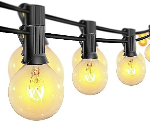 Guirnaldas luminosas de exterior,G40 Vintage Edison Bulbs 30 Enchufes Colgantes, Luces Colgantes de Interior/Exterior para Patio, Jardín, Patio Trasero, Bistró, Pérgola, Decoración de Cenador: Amazon.es: Iluminación