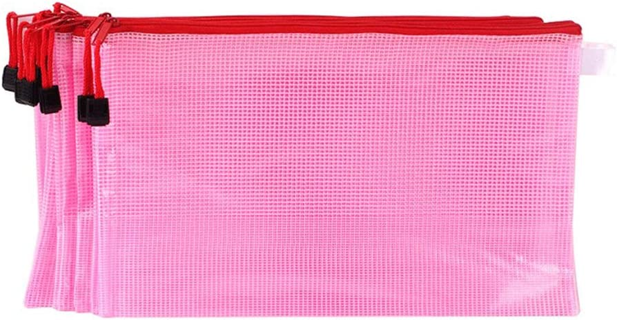 Toyvian 16pcs Zipper File Bags A6 Transparent Mesh File Bags Documents Organizer Pouch File Folder colore casuale 24X11.5CM