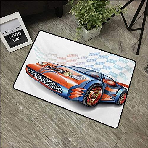 (HRoomDecor Cars,Printed Floor Mats Cartoon Style Speeding Racing Car Event Championship Racetrack Victory Drive W 20