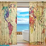WOZO Watercolor World Map Window Sheer Curtain Panels 55″x 84″, 2-Piece Colorful Vintage Map Modern Window Treatment Panel for Children Kids Home Living Dining Room Playroom Decoration