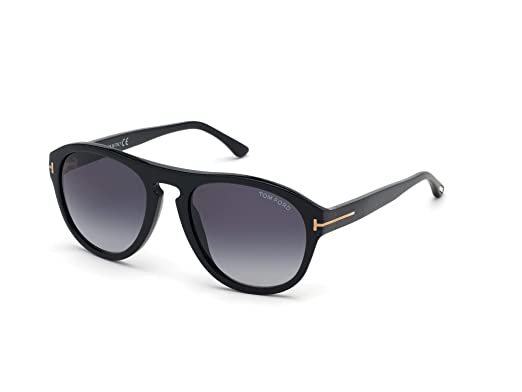 4211cefd19 Lunettes de Soleil Tom Ford AUSTIN-02 FT 0677 Black/Blue Shaded Unisexe