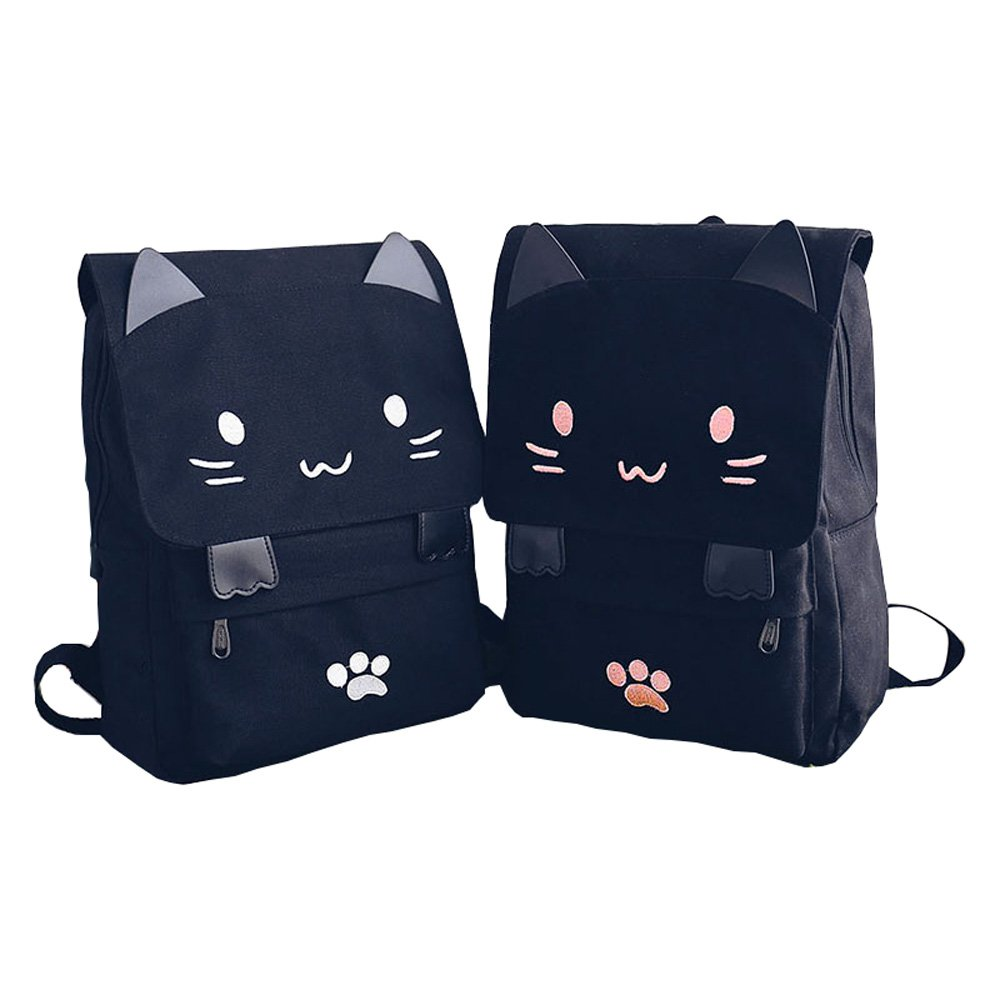 Black College Cute Cat Embroidery Canvas School Laptop Backpack Bags For Women Kids Plus Size Japanese Cartoon Kitty Paw Schoolbag Ruchsack Girls Boys Outdoor Accessories Daypack Bookbag (01White) by DemonChest (Image #2)