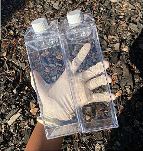Clear Milk Carton Water Bottle Creative Square Transparent Cup + Straw + Storage Bag (17 oz)