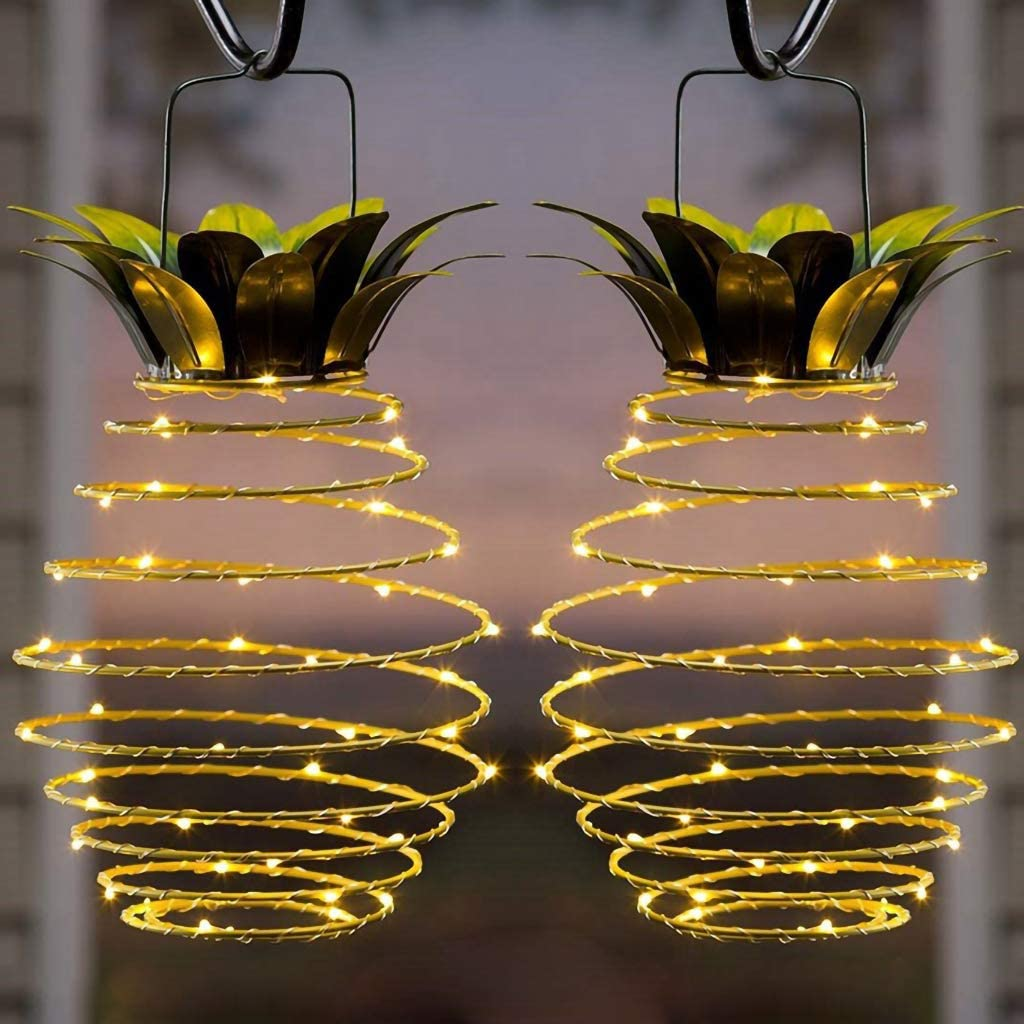DSDecor 2 Pack Solar Pineapple Lights 25-LEDs Metal Hanging Solar Lights with Handle for Outdoor Indoor Garden Patio Yard Deck Pathway Decorations, Warm White