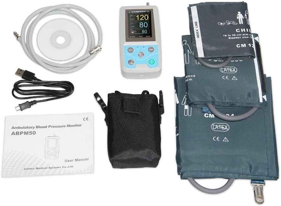 TQ Monitor de presión Arterial ambulatorio Las 24 Horas Holter Abpm50 + 3 Piezas de Manguitos, Software para PC, Manguitos para niños + Adultos + Adultos Grandes