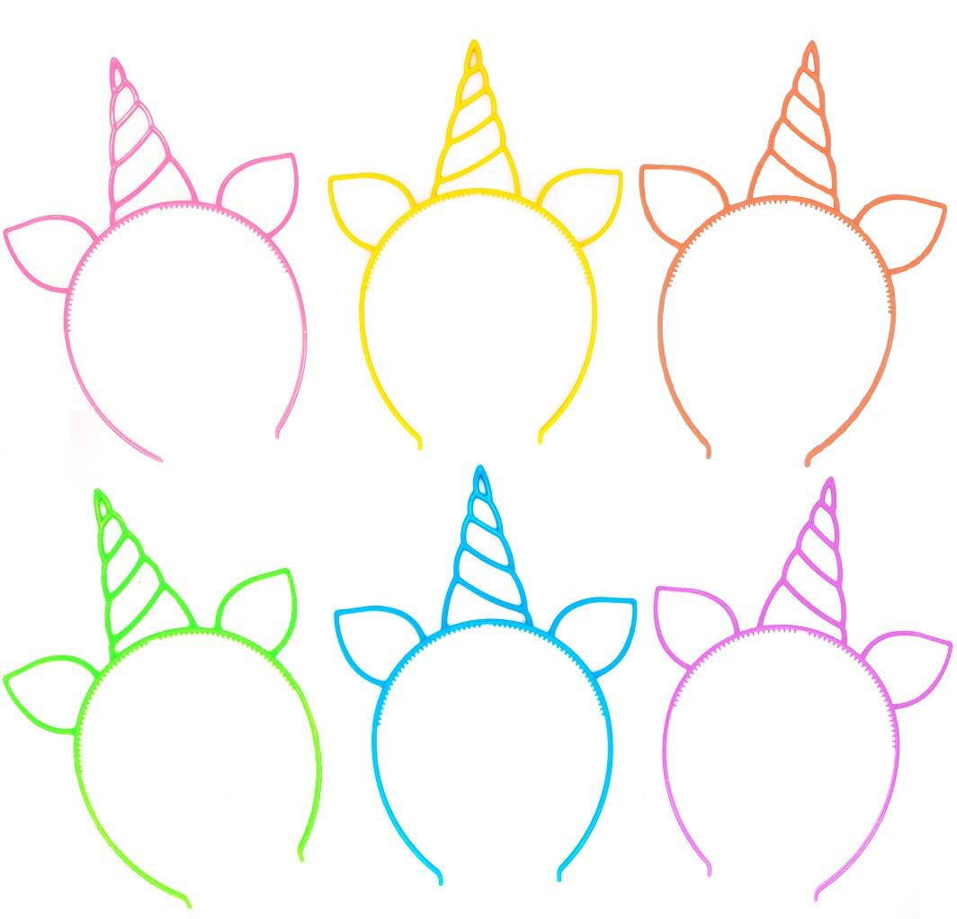 18 Pack Unicorn Headbands Party Favors Supplies Cat Ear Headbands Girls Plastic Horn Hairbands for Cosplay Party… 3