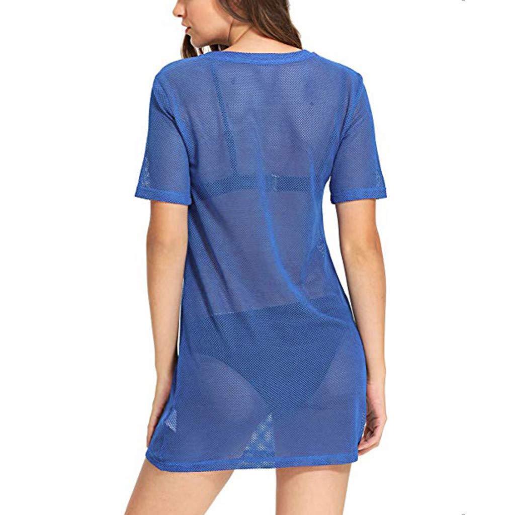 Damen Strand vertuschen Kurze Ärmel durchsichtig Schiere Mesh T-Shirt Kleid Bikini Bluse Bademode Sommerkleid Strand