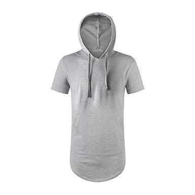 HipHop Herren Kurzarm Hoodie Kapuzenpullover Lange Hooded T Shirt (S, GRAU) d9a31cf1e8