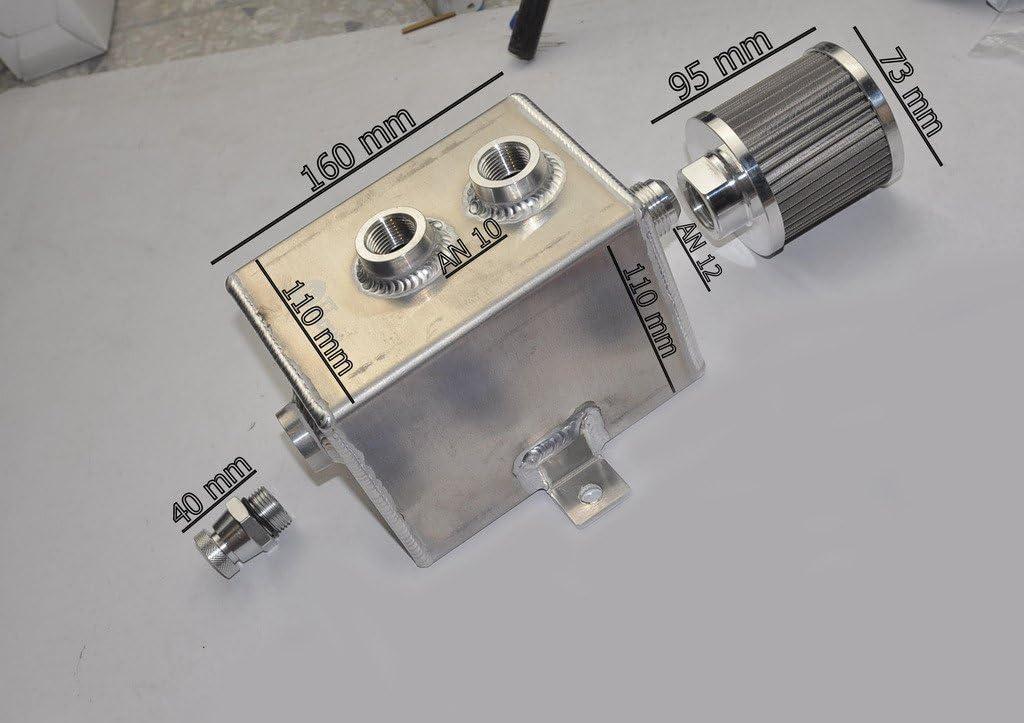 2L AN10/aluminum alloy oil Catch can Tank W//sfiato filtro rubinetto di scarico Baffled