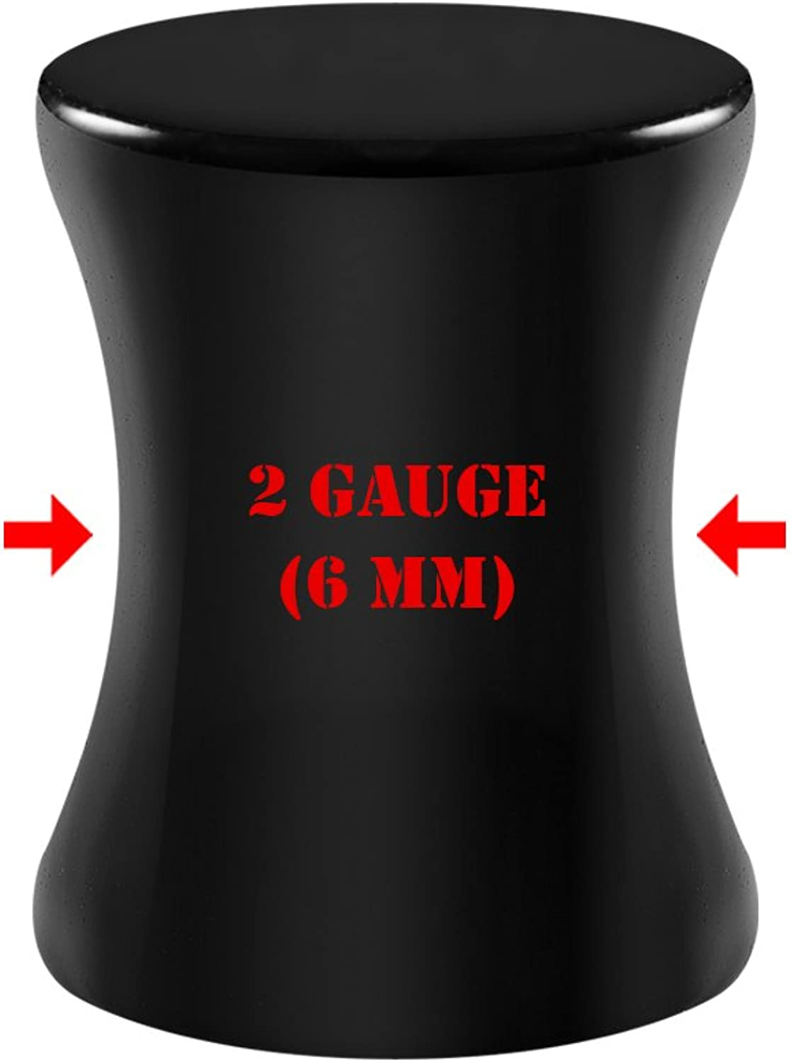 BIG GAUGES Pair of Black Acrylic Solid Double Flare Saddle Piercing Jewelry Ear Flesh Plugs Stretcher Lobe Earring