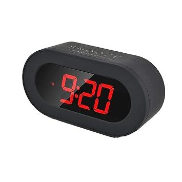 MUTANG Reloj Despertador Digital LED Reloj de cabecera con función de repetición Negra, Puerto USB para teléfonos y tabletas Carga: Amazon.es: Hogar