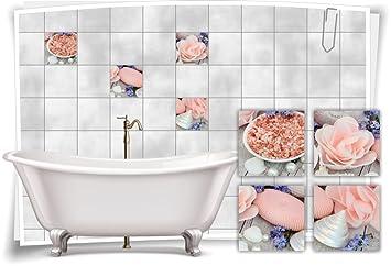 Medianlux Fliesenaufkleber Fliesenbild Rose Blute Rosa Wellness Spa