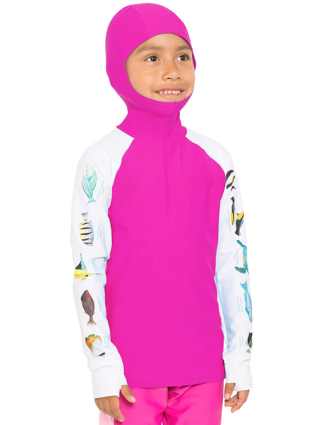 Tuga Girls Hooded Snorkel Rash Guard - Hawaii Fish ID (UPF 50+), Fuchsia, 2/3 yrs by Tuga Sunwear