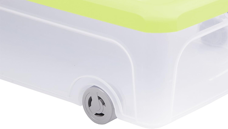 Ondis24 2x Unterbettbox Allzweckbox Rollerbox Unterbettbox 55 L transparent-gelb