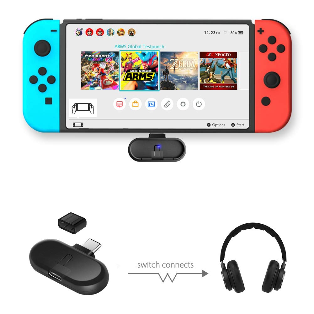 LREGO Mini Bluetooth Audio USB Transceiver Wireless NS Audio Adapter Bluetooth Transmitter with AptX Low Latency Plus a USB Type-C Cable for Nintendo Switch,PC