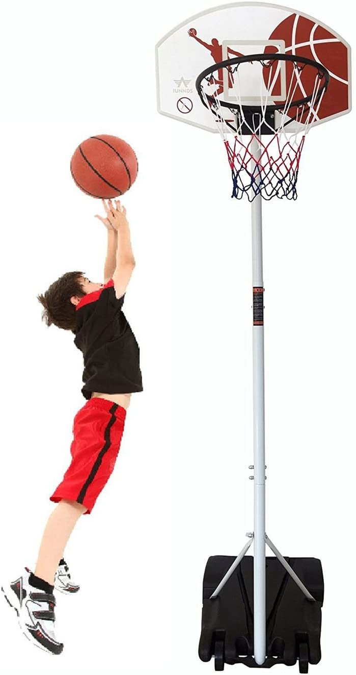 IUNNDS Adjustable 165-210cm Youth Portable Basketball Hoop /& Stand Net System on Wheels