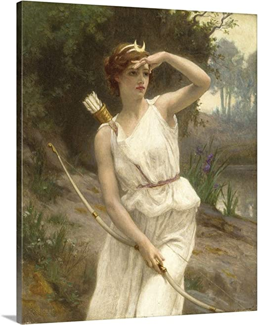 Art oil painting Hunting Diana after bathing by stream landscape with dogs 36/""