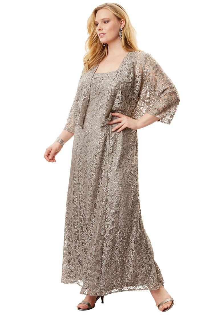 Alex Evenings Women's Plus Size Fit-and-Flare Lace Jacket Dress by Alex Evenings