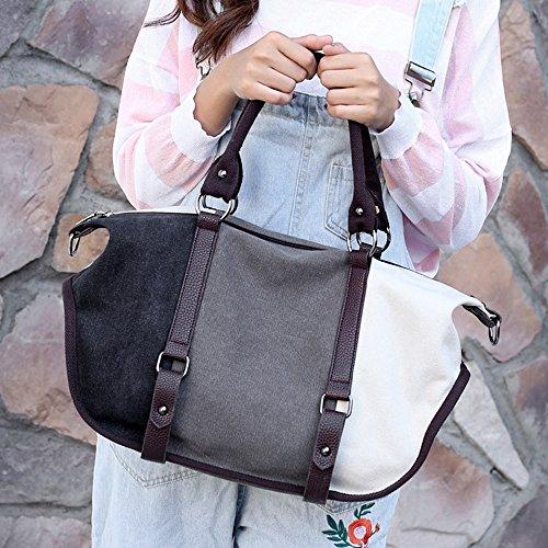 Uzanesx colore di tracolla nero donna Borsa casual grigio tela viola con a ZW1qOBwCA