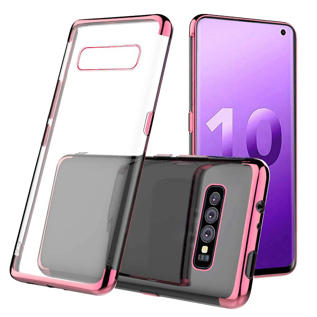 "Clear Case for Samsung S10 6"" Clear Slim Soft TPU Cover Case Full Body with Built-in Screen Protector Heavy Duty Protection Slim Fit Shockproof Rugged Cover (Rose Gold)"