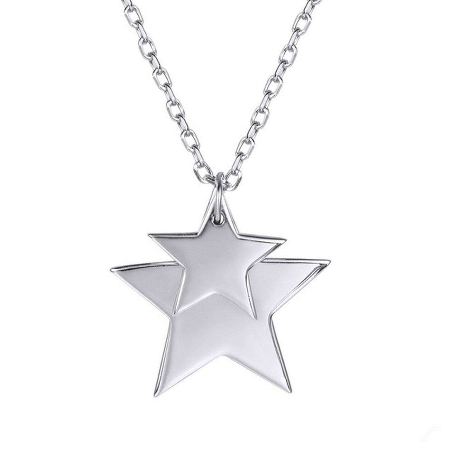 MMC Double Two Stars Silver Pendants Necklaces