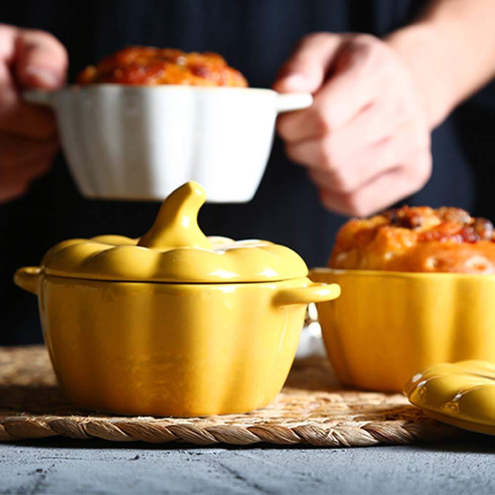 BESTONZON Forma de calabaza Cerámica Cocinera de arroz Tazón de sopa con asa y tapa para arroz Gachas de avena Postre Helado Jalea Pudín Natillas de huevo ...