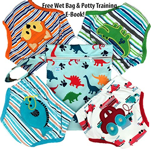 Pants Waterproof Training (4 Pack Potty Training Pants/Padded Underwear for Toddlers | Washable & Resuable | Soft Cotton | Comfortable Fit for Your Baby (Medium-Fox/Fish/Dino/Car))