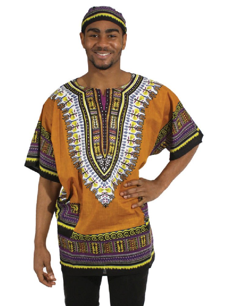 Traditional Print Unisex Dashiki - Many Colors Available, Brown