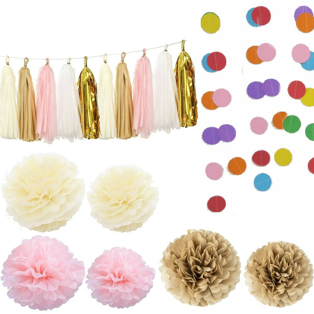 Kubert 33 Pieces Tissue Paper Pom Poms Flower Paper Tassels Dot Paper Garland Decor, Assorted Colors