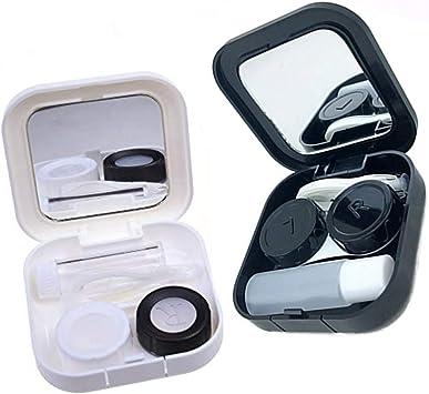 Lasenersm - Juego de 2 estuches de viaje para lentes invisibles con estuche para lentes con espejos, color negro y blanco: Amazon.es: Salud y cuidado personal