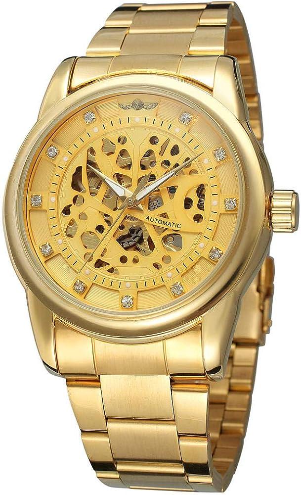 Montres De Royal Diamond Design Black Gold Clock Montre Homme Relogio Male Squelette Mécanique en Cuir Et Full Steel Watch Steel Silver-black