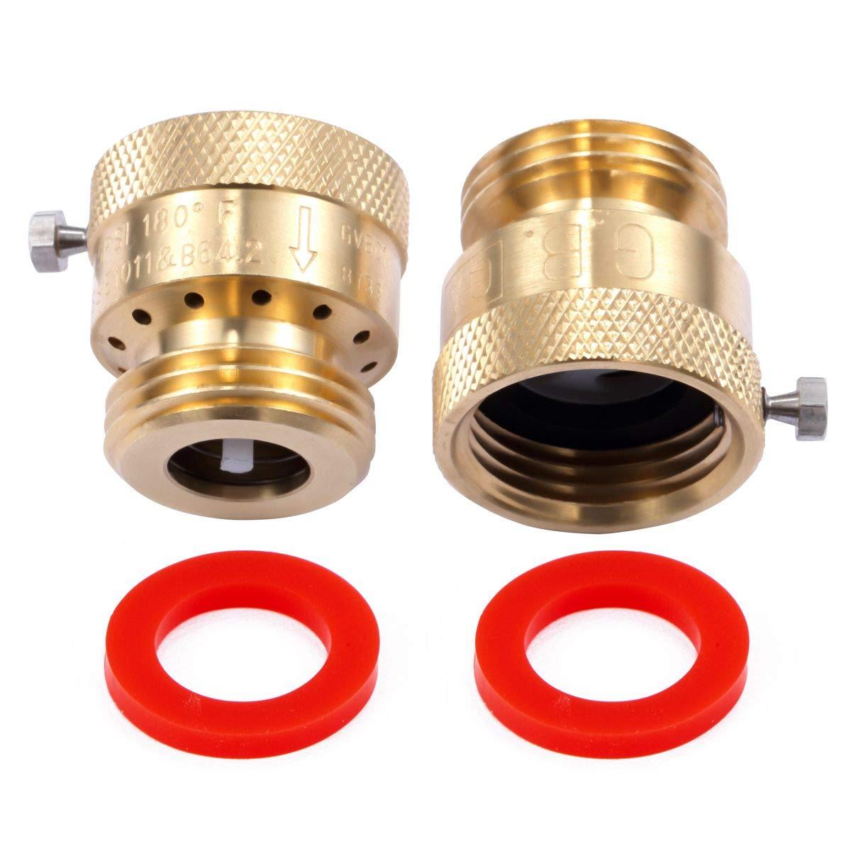 Litorange 2 Pack Brass 3/4'' Inch MHT Hose Bibb Connector Backflow Preventer Vacuum Breaker by Litorange