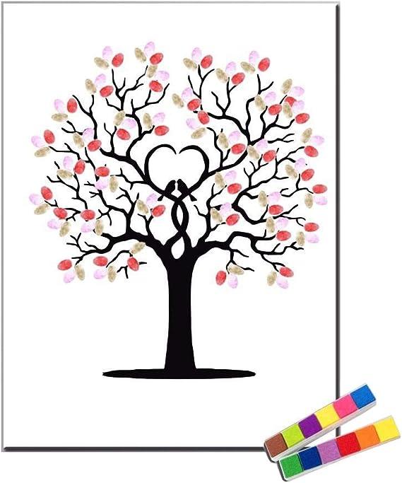 Fingerprint Personnalise Peinture Impression Sur Toile Arbre De Couleur Y Compris 12 Encre Fcolors Custom 60 80cm Amazon Fr Cuisine Maison