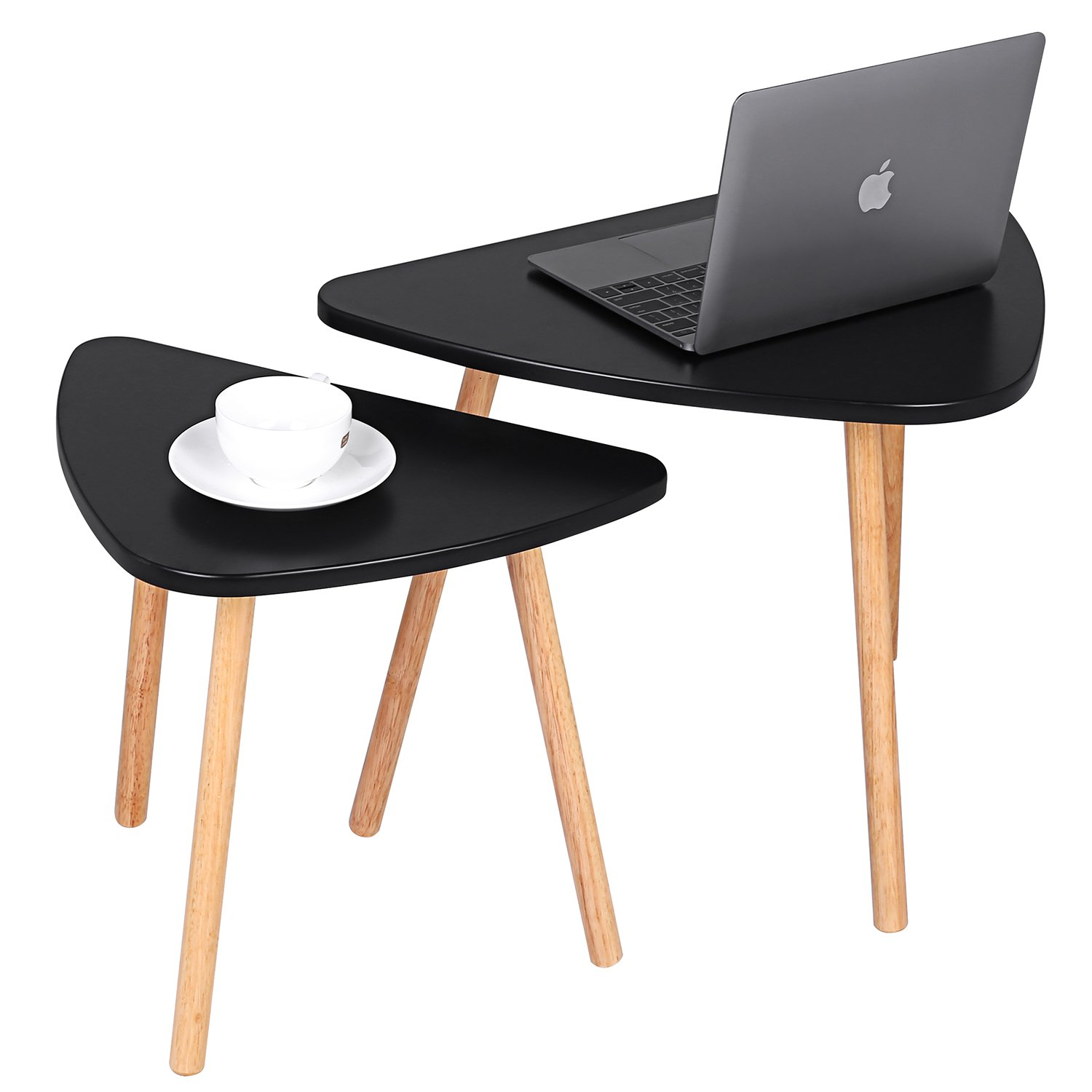 Vividy Mini Black End Table Set of 2, Portable Wooden Corner Stacking Tea Table Modern Furniture Decor Side Coffee Table for Living Room, Balcony and Office(Black)