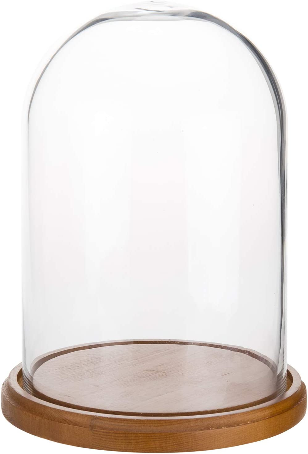MyGift 7-inch Clear Glass Display Cloche Dome with Brown Wood Base