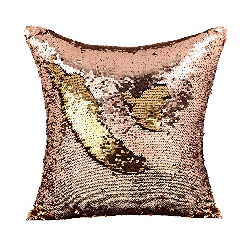 Two Tone Ruffle (SIEGES Reversible Sequins Mermaid Pillow Cases Magic Swipe Pillow Cover Two Tone Paillette Cushion Case 16