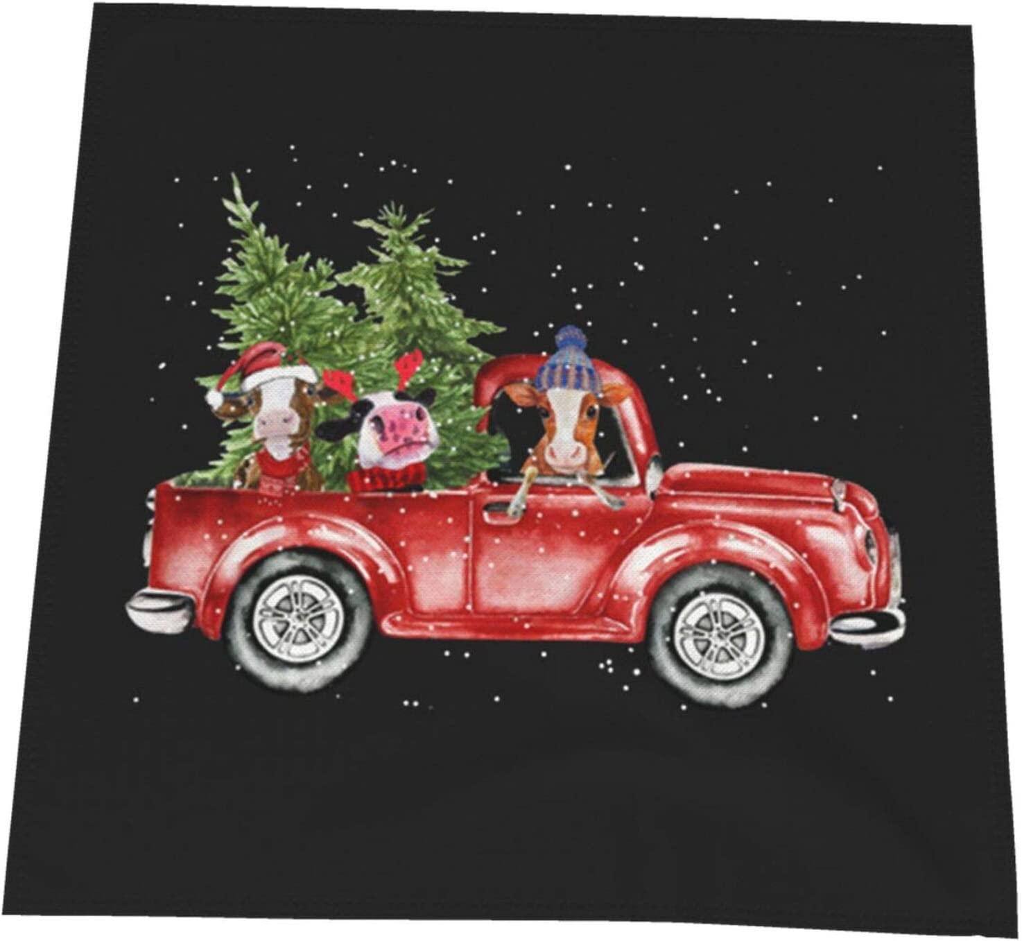MQBeauty Cow Red Car Happy Christmas Napkin Cloth 20 x 20 in Soft Polyester Dinner Napkin for Home Picnic Party Holiday Decoration Table Cover Celebration Tablecloths 6 PCS
