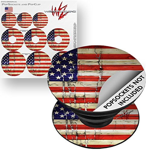 Decal Style Vinyl Skin Wrap 3 Pack for PopSockets Painted Faded and Cracked USA American Flag (POPSOCKET NOT INCLUDED) by WraptorSkinz -