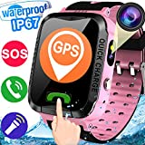 Kids Smart Watch Phone for Boys Girls GPS Tracker IP67 Waterproof Activity Smartwatch with Pedometer SIM Slot SOS Anti-lost Camera Alarm Flashlight Sport Game Watch 1.44'' Touch Screen for iOS Android