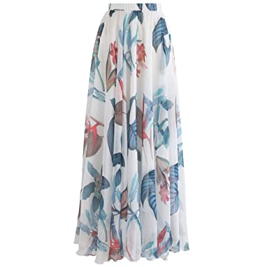 d0898936e8eb Chicwish Women's Tropical Floral Watercolor White Flower Maxi Floral  Chiffon Slip Skirt