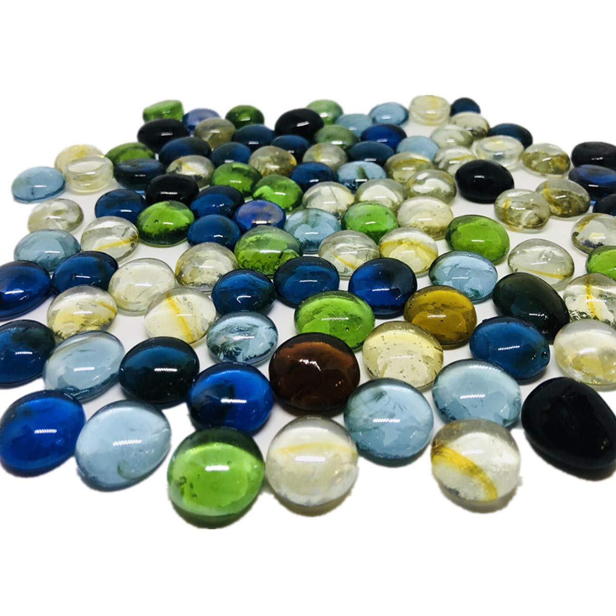 TSY TOOL 3 Lb (Approx 300 Count) 3 Bags Mixed Color Glass Gems Pebbles Stones Flat Marbles for Vase Accents and Crafting by TSY TOOL