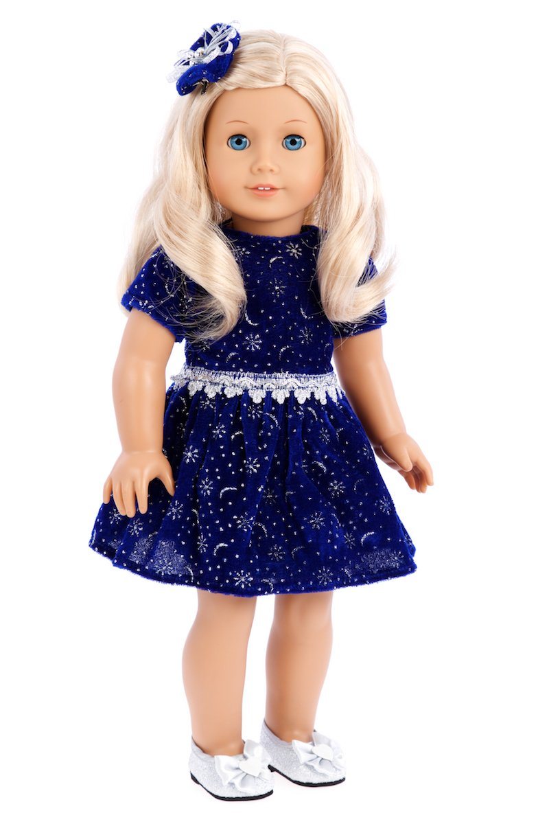 6a3c20117f2 Perfect for evening holiday parties. Outfit contains a wide back closure  for easy dressing and clothing removal. 18 inch doll clothes fits American  Girl ...