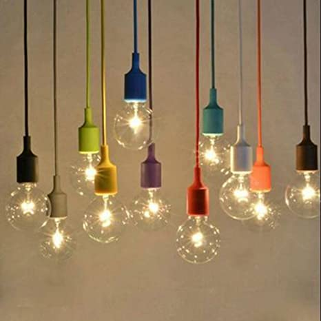 Diy Pendant Lighting Modern Injuicy Modern Edison Bulb E27 Weave Silica Gel Pendant Lights Fixtures Colorful Rubber Rainbow Diy Led Amazoncom Injuicy Modern Edison Bulb E27 Weave Silica Gel Pendant Lights