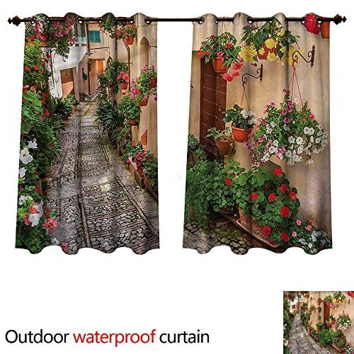 - Tuscan Home Patio Outdoor Curtain Rustic Wooden Door Flowers W96 x L72(245cm x 183cm)