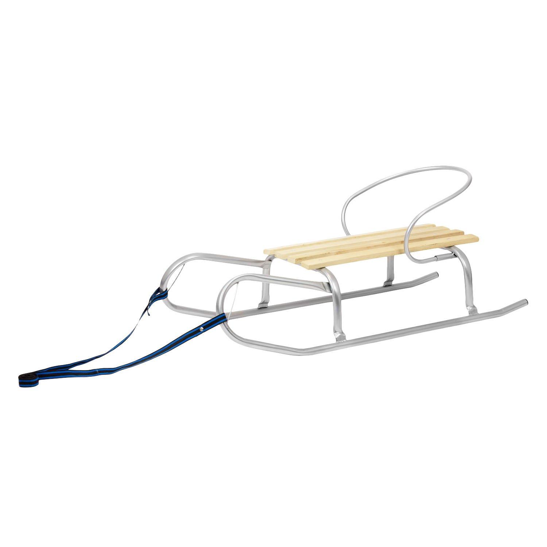 LOTEX24 - Trineo con respaldo (metal y madera, 90 cm), color plateado