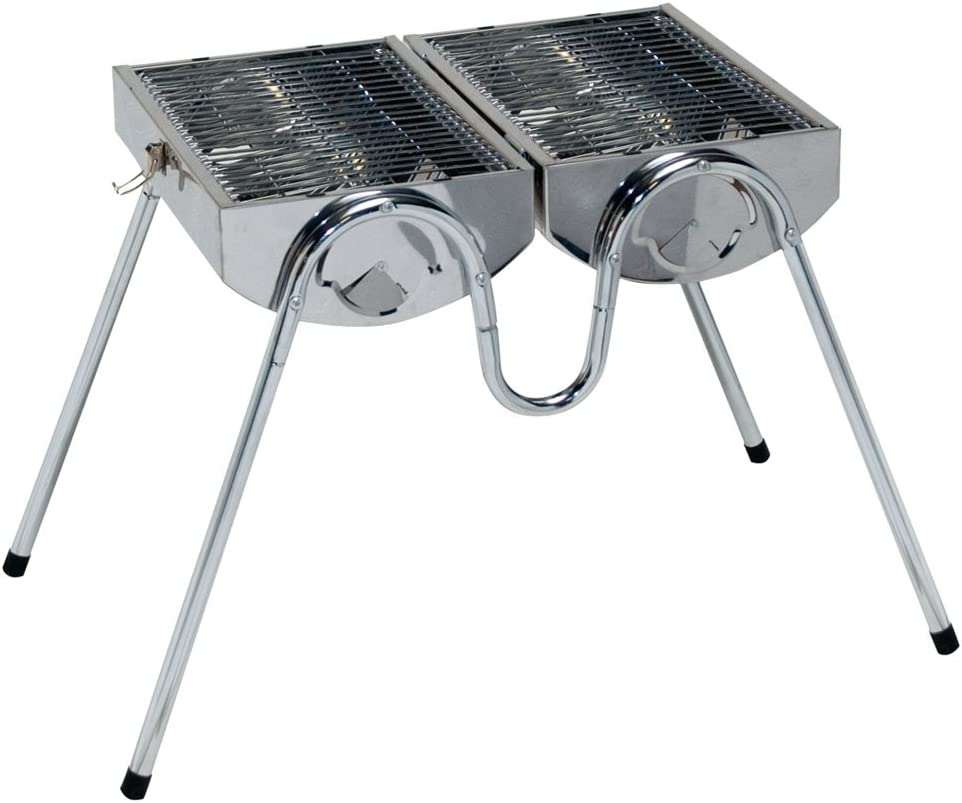CAMP 4 TITISEE BARBECUE CHARBON DE BOIS EN INOX 38 X 28
