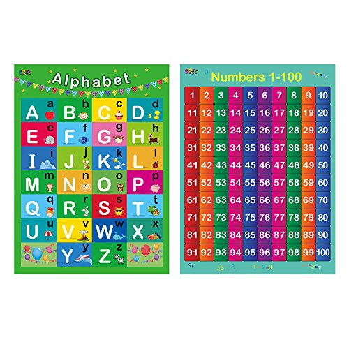 "Alphabet, Numbers 1-100,2 LAMINATED Educational Posters for Toddlers ,17"" X 22"""