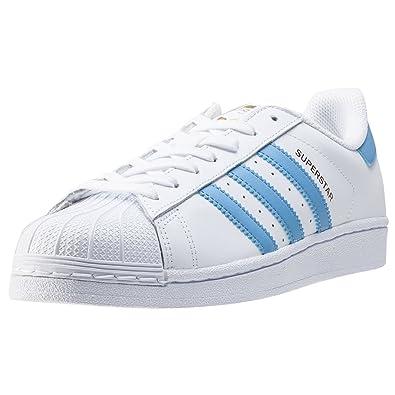 adidas Superstar Chaussures de Sport pour Homme, Homme, Blanc/Bleu Clair, 9
