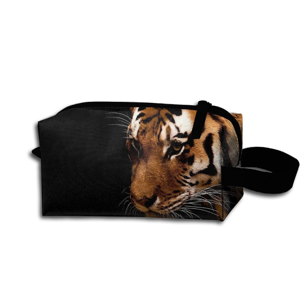 Makeup Cosmetic Bag Animals Black Tigers Zip Travel Portable Storage Pouch For Men Women